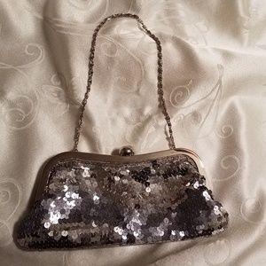 Vintage Small Sequins Purse, Silver Tone